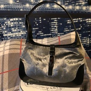 Authentic Gucci Grey Velvet Jackie O Shoulder Bag